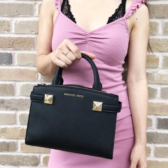 Michael Kors Karla Small Satchel Bag Black Boutique